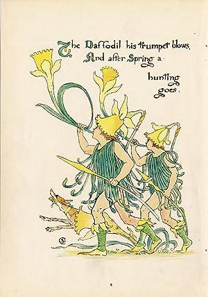 Antique Print-DAFFODIL-NARCISSUS-DOG-FLOWER-FLORA'S FEAST-ART DECO-Crane-1889