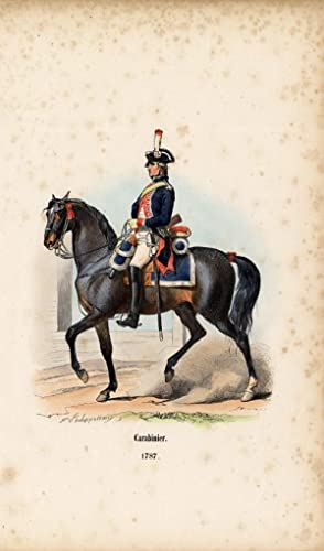 Antique HistoryPrint-ARMY-FRANCE-GENDARMERIE-HORSE-1852