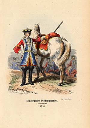 Antique History Print-ARMY-FRANCE-BRIGADIER-HORSE-1852