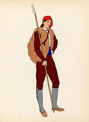 Costume Print-PYRENEES-VAL D'ARAN-MAN-FRANCE-1939