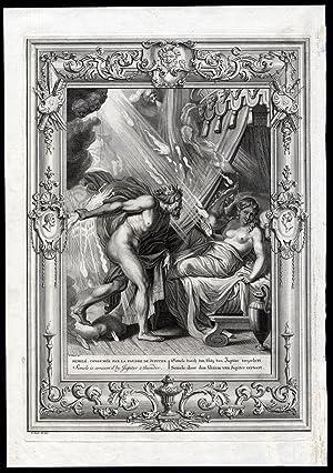 Antique Mythology Print-SEMELE-JUPITER-ZEUS-Picart-1733