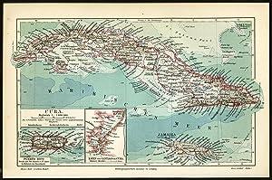 Antique Map-CUBA-JAMAICA-PUERTO RICO-Meyers-1895