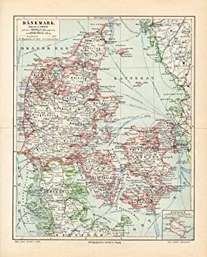 Antique Map-SCANDINAVIA-DENMARK-Meyers-1895