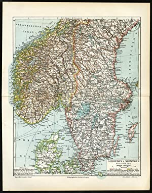 Antique Map-SOUTH SCANDINAVIA-NORWAY-SWEDEN-Meyers-1895