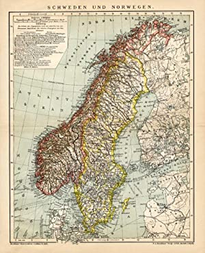 Antique Map-SCANDINAVIA-SWEDEN-NORWAY-Meyers-1895