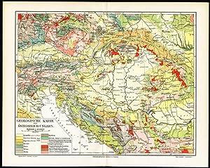 Antique Map-AUSTRIA-HUNGARY-GEOLOGY-Meyers-1895