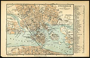 Antique Plan-STOCKHOLM-CENTRE-SWEDEN-Meyers-1895