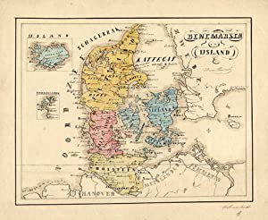 Antique Manuscript Map-DENMARK-ICELAND-Van Bommel-1865