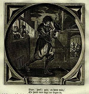 Antique Print-Emblem-Satirical-Proverb-LOVE-LUST-SEXUAL URGE-Venne-Cats-1655
