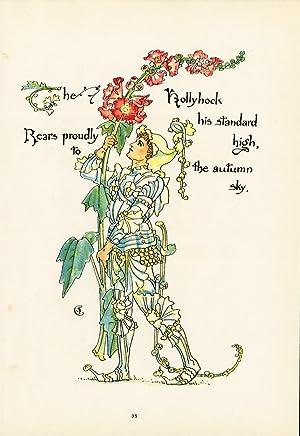 Antique Print-HOLLYHOCK-ALCEA-FLOWER-FLORA'S FEAST-ART DECO-Crane-1889