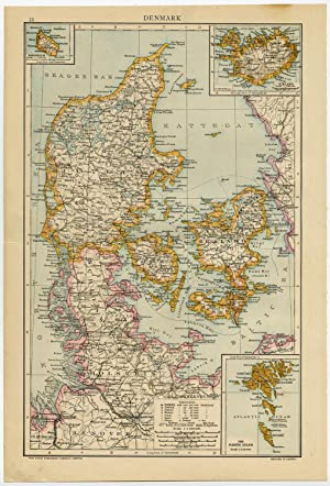 Antique Map-DENMARK-SCANDINAVIA-ICELAND-FAROE ISLANDS-BORNHOLM-Andree-1904