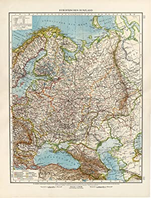 Antique Map-EUROPEAN RUSSIA-FINLAND-POLAND-BELARUS-Andree-1904