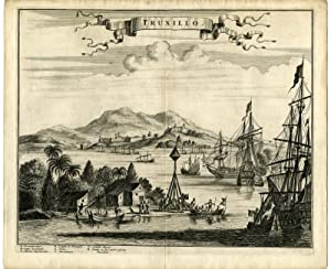 Antique Print-FORTRESS-BATTLE-SHIPS-TRUXILLO-TRUJILLO-HONDURAS-Montanus-1671