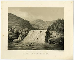 Antique Print-LEERFOSSEN-WATERFALL-NORWAY-G. Saal-J. Hellesen-c. 1855