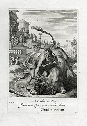 Antique Print-MYTHOLOGICAL-HERACLES-ACHELOUS-Diepenbeek-bloemaert-mariette-1655