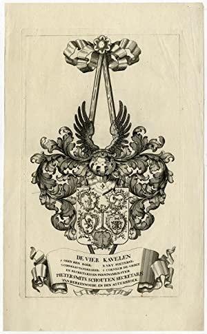 Antique Print-KRIMPENERWAARD-COAT OF ARMS-VIER KAVELEN-Coster-Van Moelingen-1755