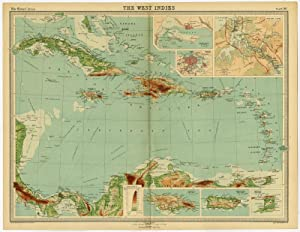 Antique Map-WEST INDIES-CARRIBEAN-CUBA-HAITI-JAMAICA-PANAMA-Bartholomew-1922