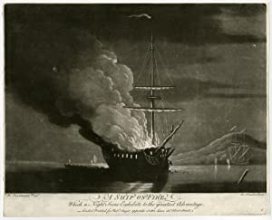 Antique Print-SHIP-FIRE-NIGHT SCENE-ADVANTAGE-Van de Velde-Houston-c.1750