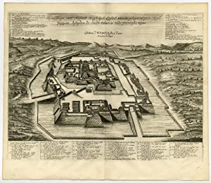 Antique Print-OSAKA CASTLE-JAPAN-IMPERIAL PALACE-Montanus-1669