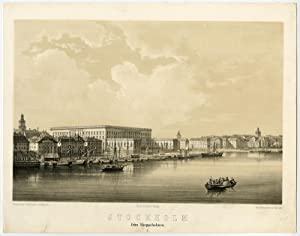 Antique Print-VIEW-SKEPPSHOLMEN-STOCKHOLM-SWEDEN-Hallbeck-Nay-Baerentzen-c.1840