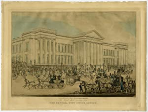 Antique Print-LONDON-POSTOFFICE-POST-COACH-HORSES-Pollard-Reeves-1830