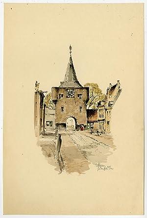 Print-ELBURG-VISCHPOORT-FISH GATE-NETHERLANDS-Buhl (?)-ca. 1980