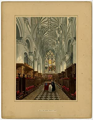 Antique Print-CATHEDRAL-CHOIR-OXFORD-ENGLAND-STAINED GLASS-AQUATINT-Wild-c. 1823