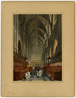 Antique Print-CATHEDRAL-CHOIR-YORK-ENGLAND-STAINED GLASS-AQUATINT-Wild-c. 1823