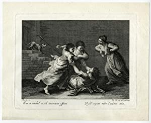 Antique Print-ADULT-FIGHT-CHAIR-CHILD-Maggiotto-Colle-ca. 1760