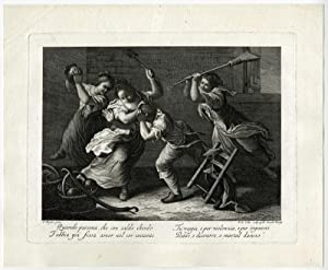 Antique Print-FIGHT-WOMEN-MOTHER-DOG-Maggiotto-Colle-ca. 1760