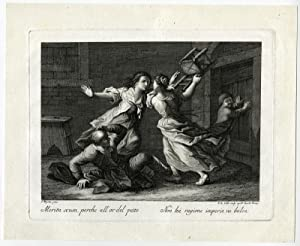 Antique Print-GENRE-FLYSWATTER-BROOM-JUG-FIGHT-Maggiotto-Colle-ca. 1760