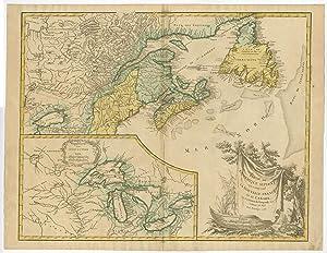 Antique Print-NEWFOUNDLAND-NOVA SCOTIA-CANADA-GREAT LAKES-De Vaugondy-1755