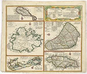 Antique Map-BARBADOS-BERMUDA-JAMAICA-ANTIGUA-NEVIS-Homann Heirs-c. 1740