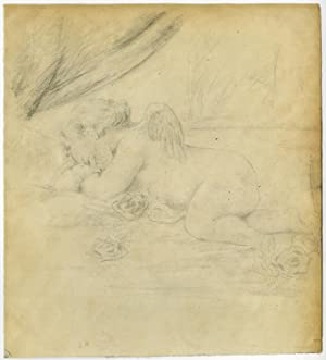 Antique Drawing-GENRE-CUPID-SLEEPING-French School-ca. 1900