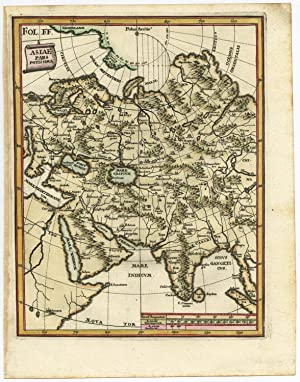 Antique Map-CENTRAL ASIA-RUSSIA-INDIA-CHINA-COLOURED-Scherer-c. 1700