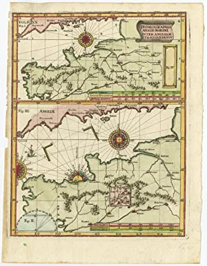Antique Map-ENGLISH CHANNEL-FRANCE-ENGLAND-Scherer-c. 1700