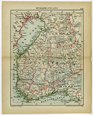 Antique Map-FINLAND-RUSSIA-BALTIC SEA-Kuyper-1882