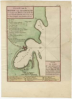 Antique Map-ACAPULCO-PORT-MEXICO-COLOURED-Anson-c. 1750