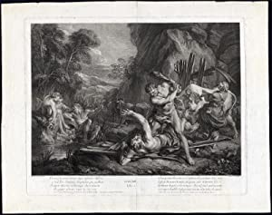 Antique Print-HERCULES-CACUS-CATTLE-AVENTINE HILL-ROME-Lemoyne-Laurent Cars-1760