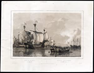 Antique Print-NAVAL BATTLE-MEUSE-HOOK AND COD WARS-Schotel-1830