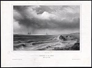 Antique Print-SHIPWRECK-BEACH-STORM-Gudin-1850