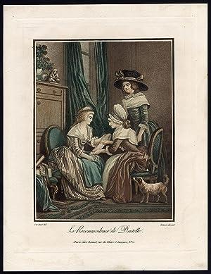 Antique Print-LACE MENDER-LADY-HANDMAIDEN-INSPECTION-Bonnet-J.B. Huet-c. 1770