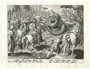 Antique Hunting Print-DRAGON-ARROW-BOW-CONSUL-No. 43-Stradanus-1615