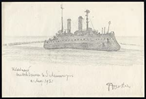 Original Drawing-SHIP-HILDEBRAND-CRUISER-HARBOUR SCHEVENINGEN-Nunter-1921