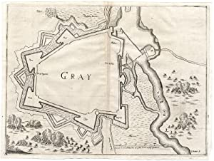 Antique Map-GRAY-FRANCE-FORTIFICATON-FORTRESS-Bouttats-Gualdo Priorato-1670
