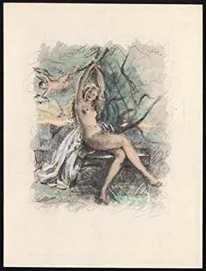 Original Print-NUDE FEMALE FIGURE-PUTTO-SEATED-1900