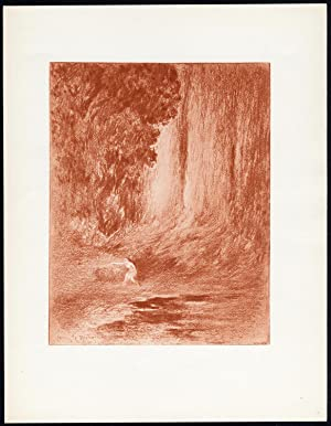 Original Print-FIGURE-SEATED-NUDE-FEMALE-WILDERNESS-Henri le Riche-1940