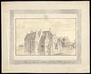 Antique Drawing-MANOR-HOUSE-TE LEEUWEN-DRUTEN-Van Horstok-1785