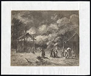 Antique Drawing-HAYSTACK-FIRE-CONSTERNATION-Andriessen-ca. 1790