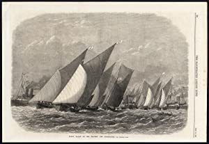 Antique Print-SAILING SHIP-BARGE-RACE-THAMES-ENGLAND-GREENHITHE-1868
